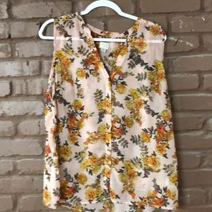 Sleeveless sheer floral blouse